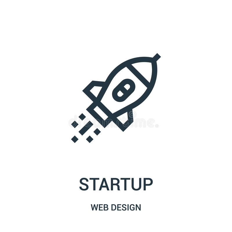 Startup icon vector from web design collection. Thin line startup outline icon vector illustration. Linear symbol for use on web and mobile apps, logo, print royalty free illustration
