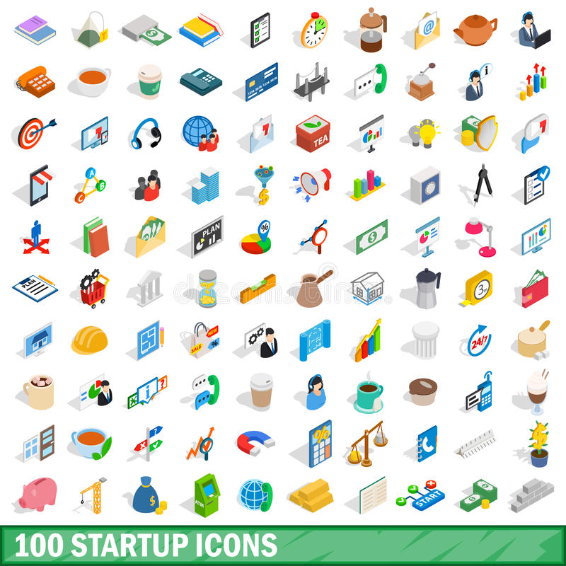 100 startup icons set, isometric 3d style royalty free illustration