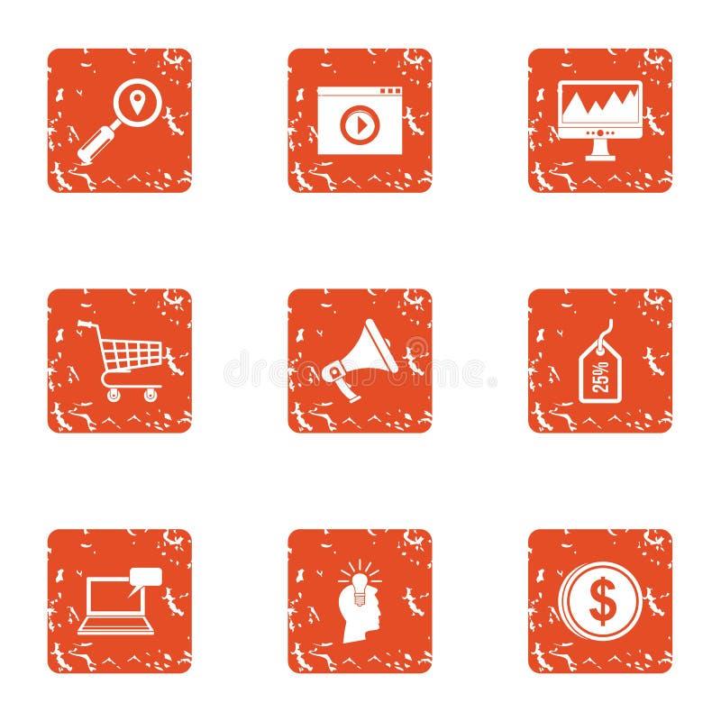Startup idea icons set, grunge style royalty free illustration