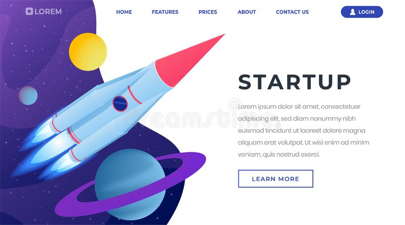 Startup ideas isometric landing page template. 3d spaceship, rocket flying in outer space, leaving solar system stock illustration