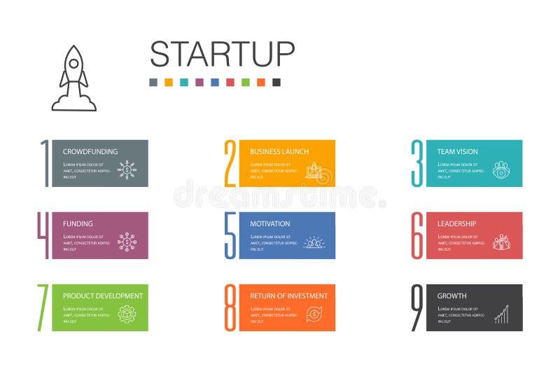 Startup Infographic 10 option line royalty free illustration