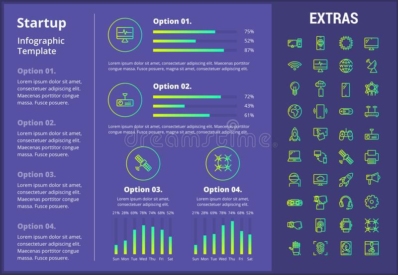 Startup infographic template, elements and icons. vector illustration