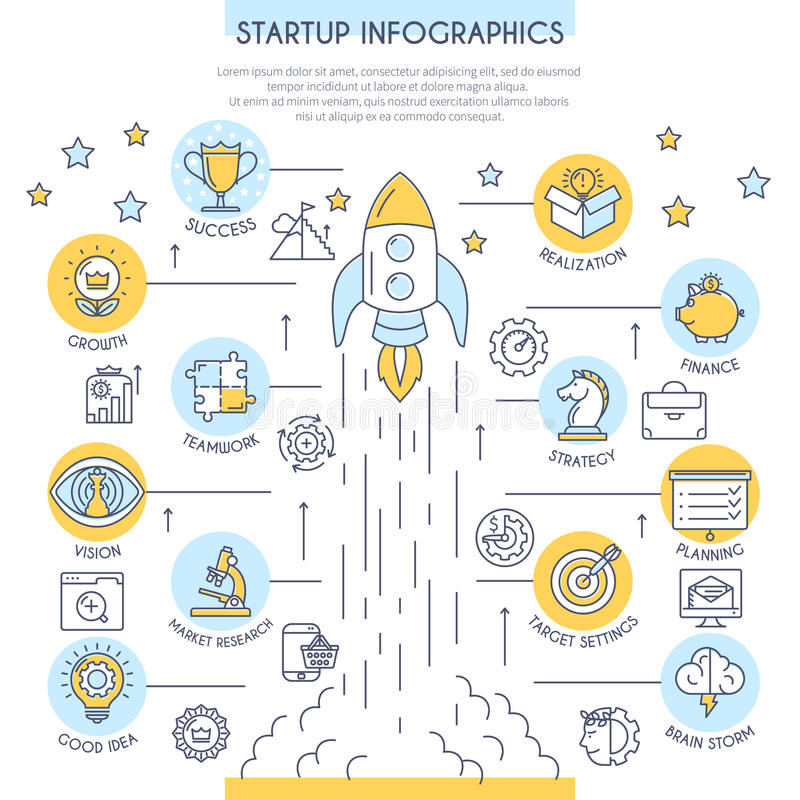 Startup Infographics in Flat Line Style. Startup Infographics with Icons. Web Design Concept in Flat Line Style. Vector illustration stock illustration