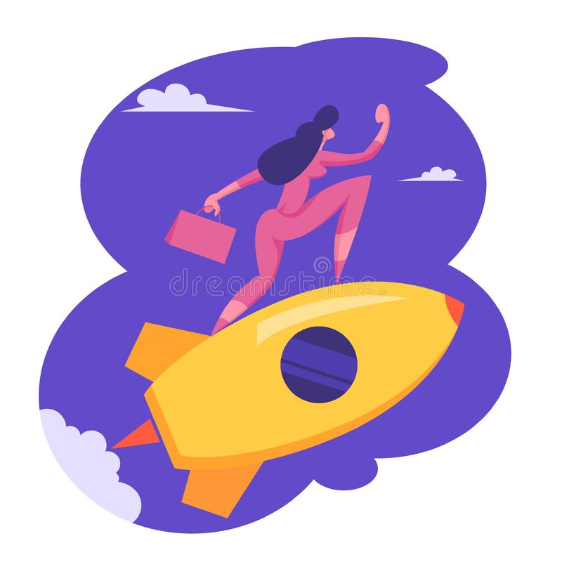 Startup Innovation Technology Concept. New Business Project, Creative Character, Office Worker Woman Riding Rocket. In Sky. Management and Development, Goal stock illustration