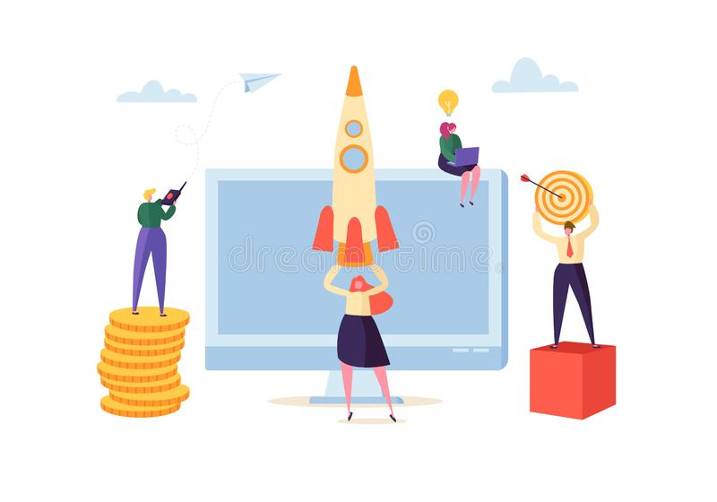 Startup Innovation Technology Concept. New Business Project with Rocket and Creative Characters. Management royalty free illustration
