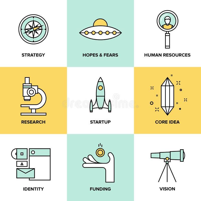Startup key elements flat icons set stock illustration