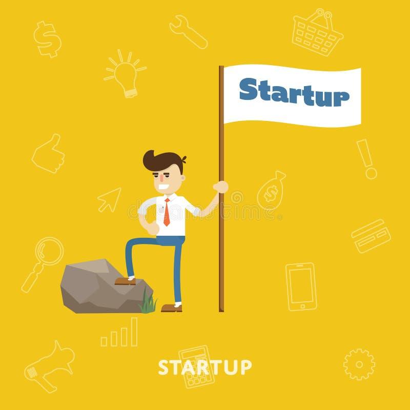 Startup lägenhet för vektor för affärsprojektprocess royaltyfri illustrationer