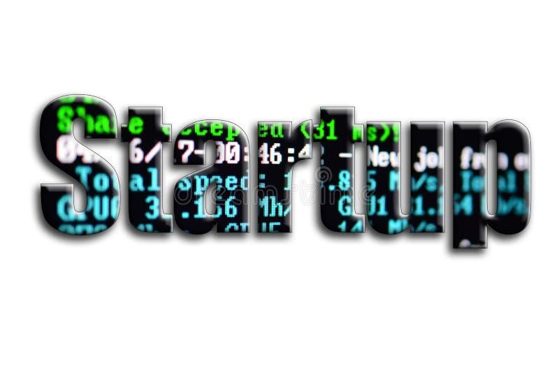 startup L'inscription a une texture de la photographie, qui dépeint l'écran de extraction de logiciel de cryptocurrency image stock