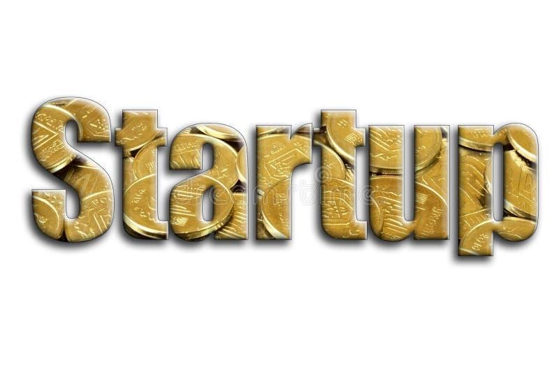 startup L'inscription a une texture de la photographie, qui dépeint beaucoup de pièces de monnaie ukrainiennes photos stock