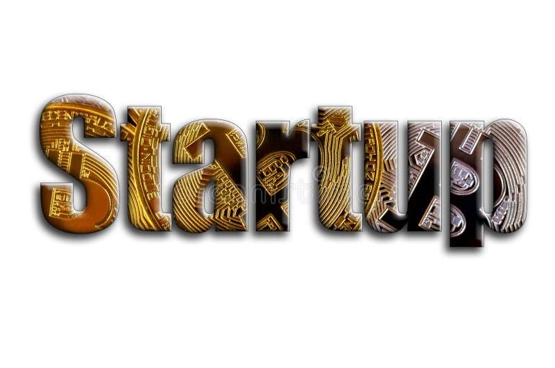 startup L'inscription a une texture de la photographie, qui dépeint plusieurs bitcoins images stock
