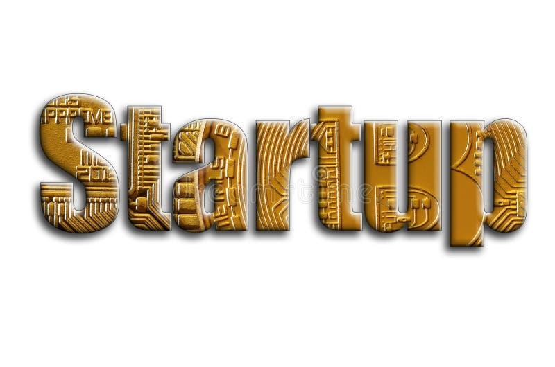 startup L'inscription a une texture de la photographie, qui dépeint plusieurs bitcoins photographie stock