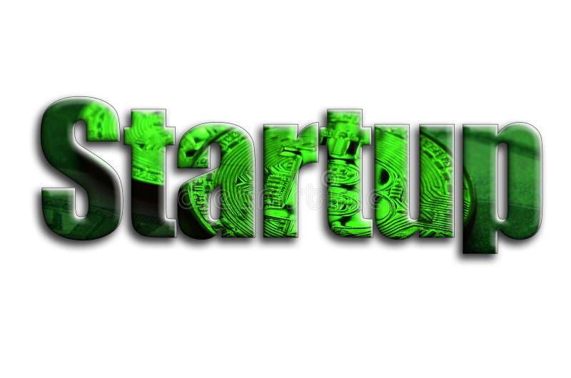startup L'inscription a une texture de la photographie, qui dépeint plusieurs bitcoins sur des billets d'un dollar images libres de droits