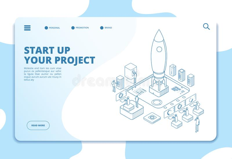 Startup landing page. Successful project launch. Isometric rocket, people at dashboard. Corporate ico business vector royalty free illustration