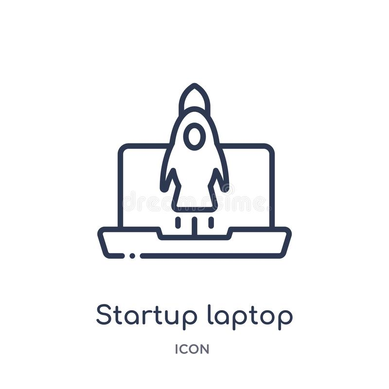 startup laptop icon from startup stategy and success outline collection. Thin line startup laptop icon isolated on white royalty free illustration