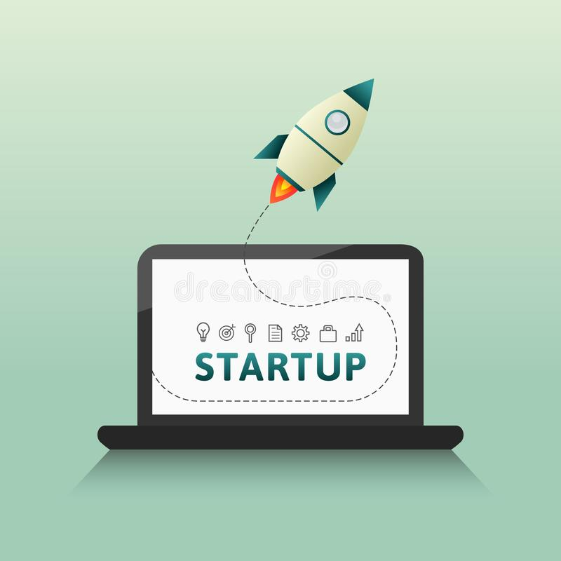 Startup launch concept with rocket and computer. Startup launch concept with rocket, computer and related thin line icons. Vector illustration in flat design royalty free illustration