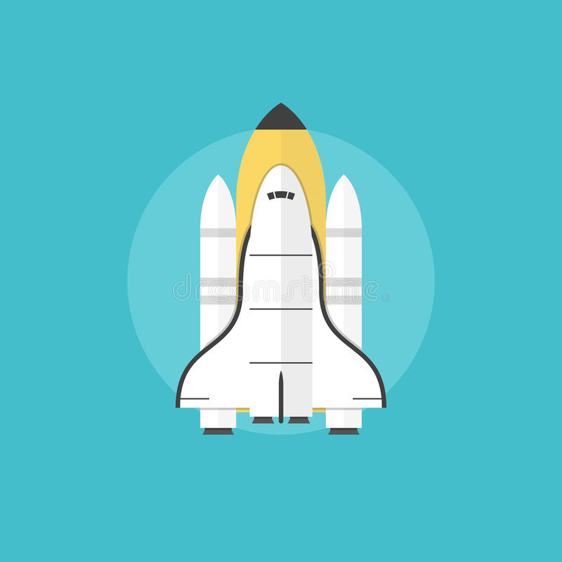 Startup launch flat icon illustration. Space shuttle for interstellar mission taking off on a mission, indicating a successful start of a new profitable business vector illustration
