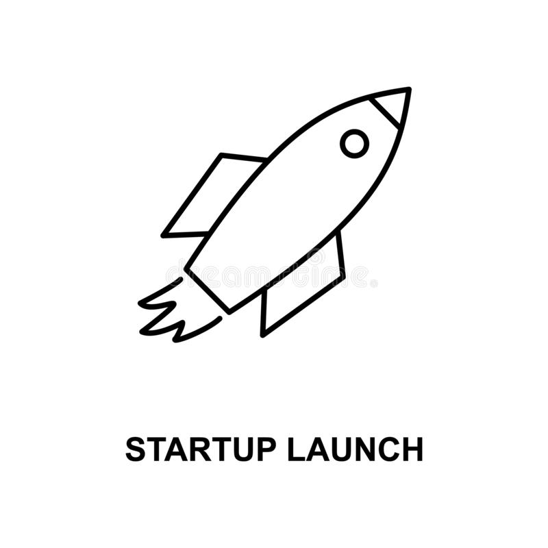 Startup launch line icon. On white background royalty free illustration