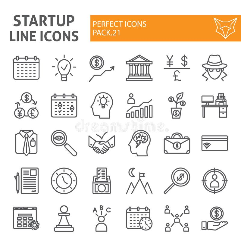 Startup line icon set, finance symbols collection, vector sketches, logo illustrations, development signs linear vector illustration