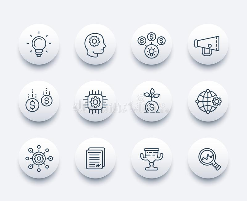 Startup line icons set. Creative process, idea, initial capital, funding, innovation, project growth stock illustration