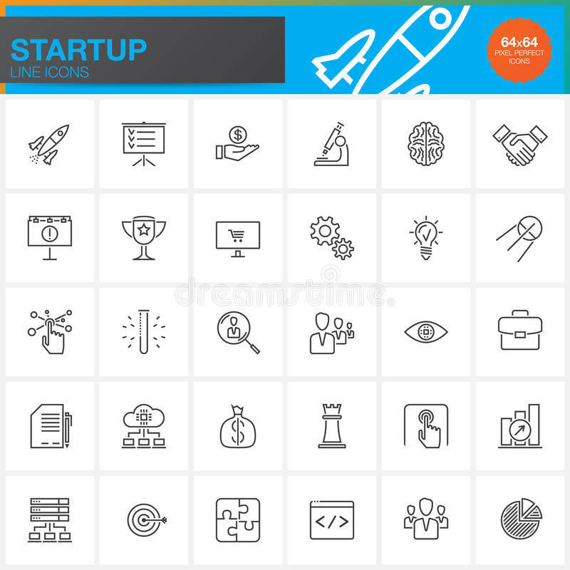 Startup line icons set, outline vector symbol collection, linear pictogram pack. Isolated on white, pixel perfect logo illustration stock illustration