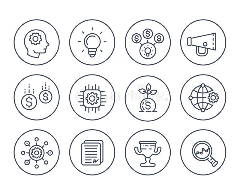 Startup line icons set on white. Creative process, idea, initial capital, funding, innovation, project growth, analytics vector illustration