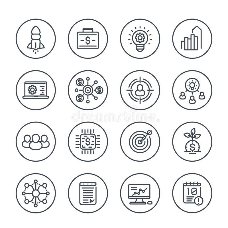 Startup line icons, product launch project funding royalty free illustration