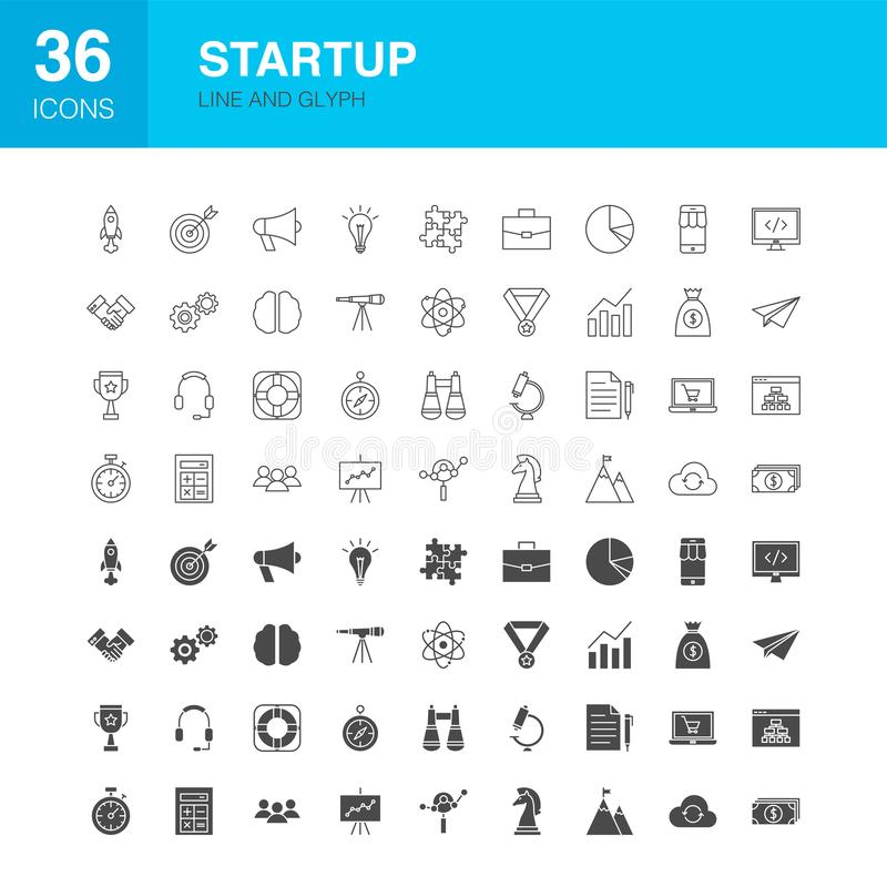 Startup Line Web Glyph Icons. Vector Illustration of Technology Outline and Solid Symbols royalty free illustration
