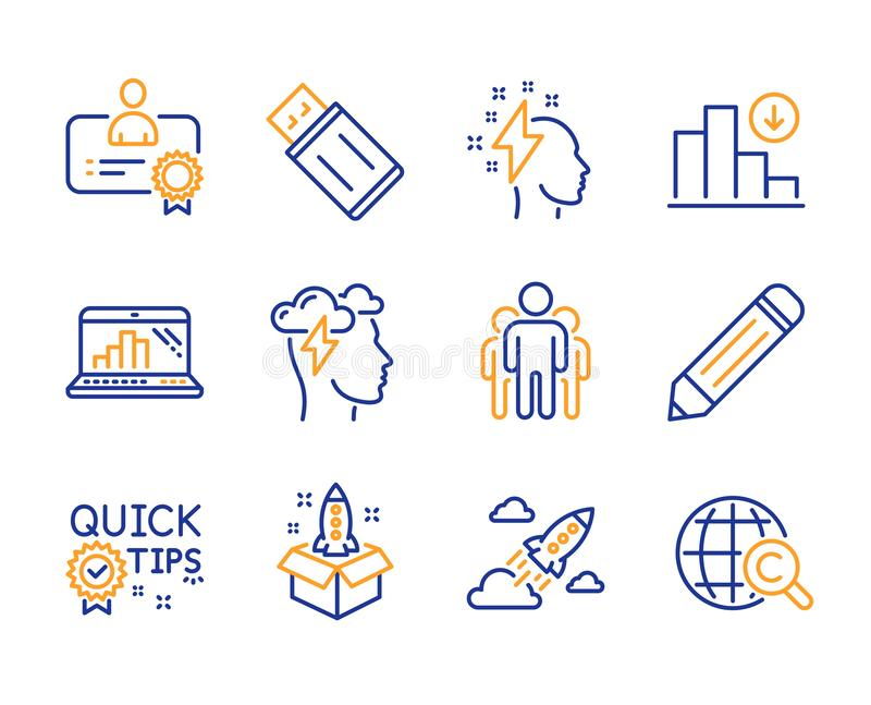 Startup, Mindfulness stress and Pencil icons set. Graph laptop, Quick tips and Certificate signs. Vector royalty free illustration