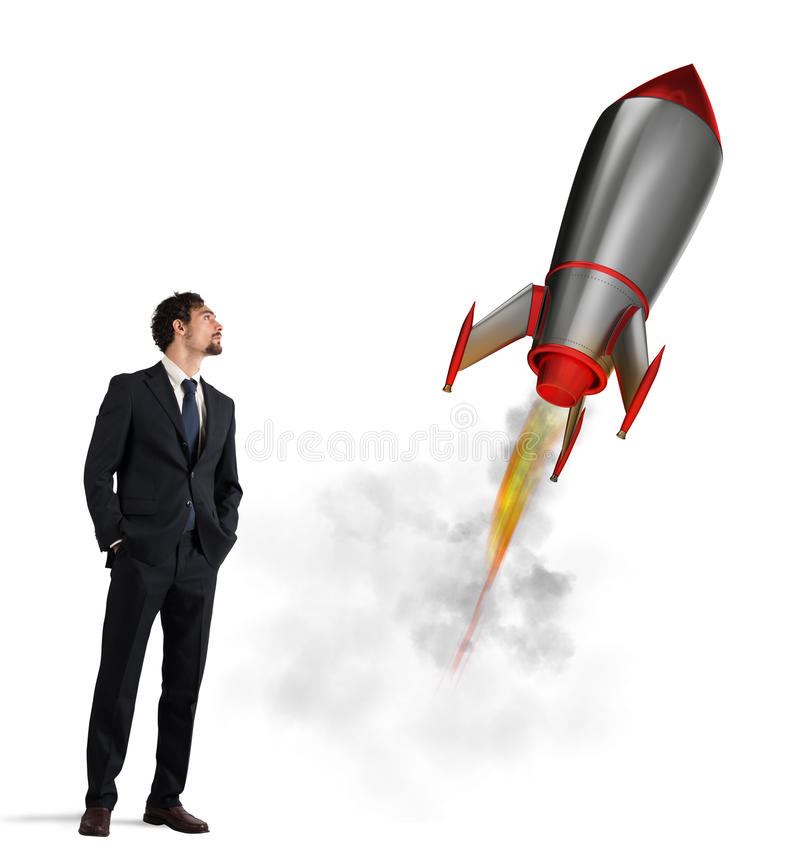Startup of a new company with starting rocket. Concept of business growth stock photos
