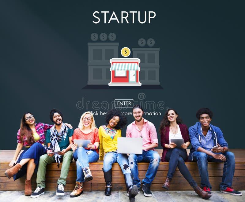 Startup ny affärsstrategi investerar begrepp arkivbilder
