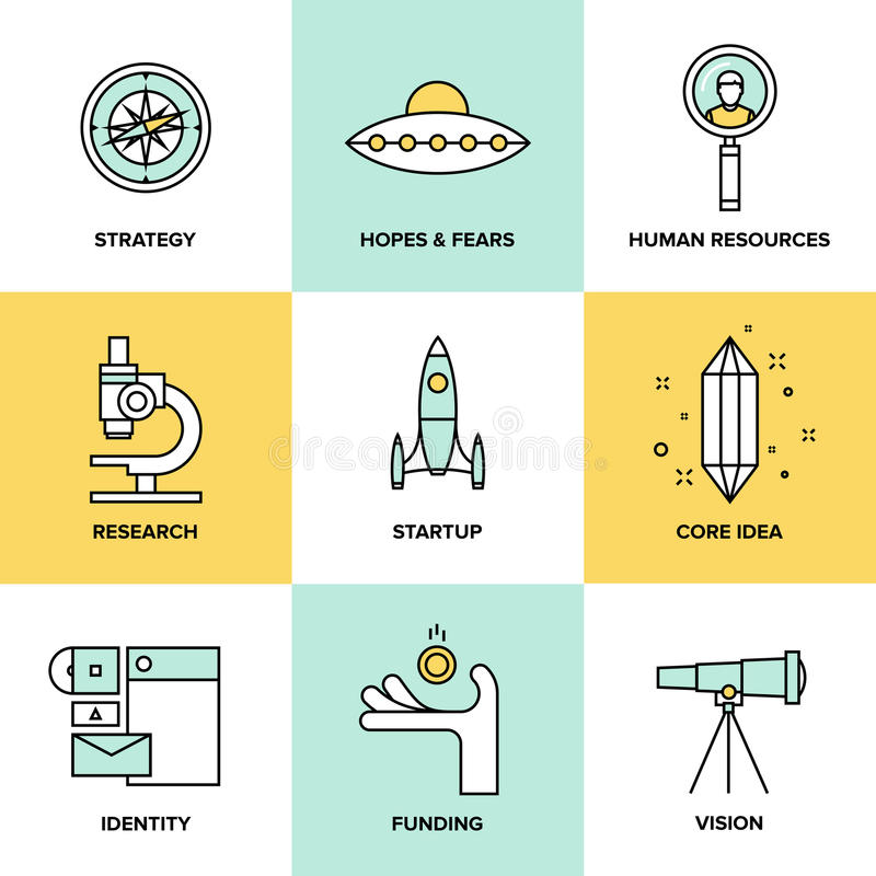 Startup nyckel- beståndsdelar sänker symbolsuppsättningen stock illustrationer