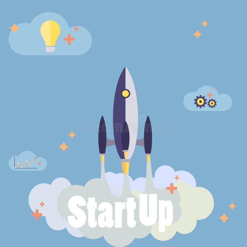Startup nytt affärsprojekt med raketbildbärare royaltyfri illustrationer