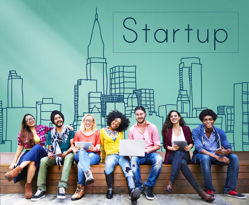 Startup nytt begrepp för lansering för affärsvisionstrategi arkivfoton