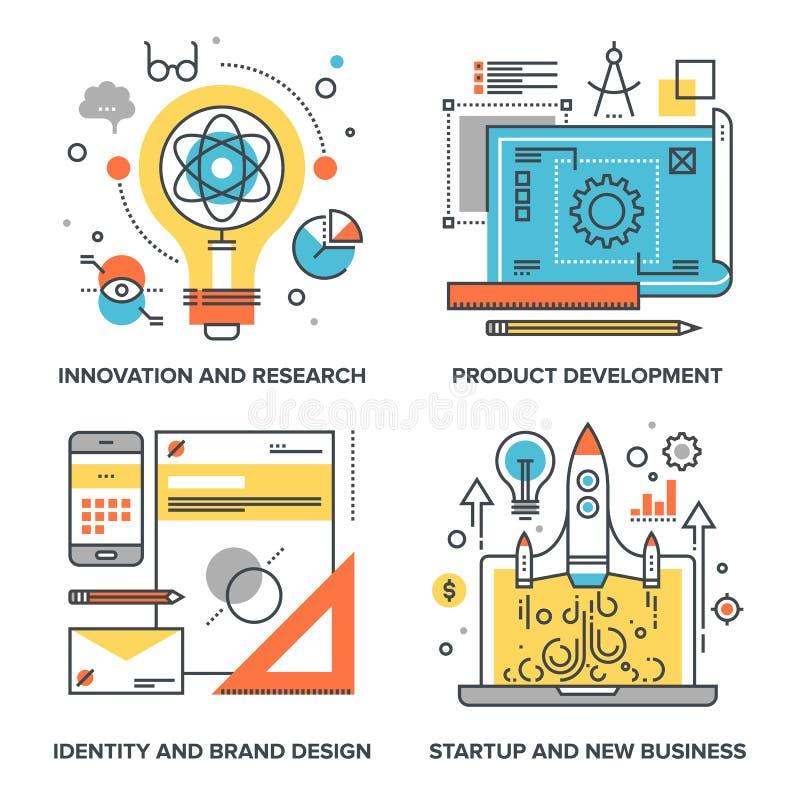 Startup och ny affär stock illustrationer