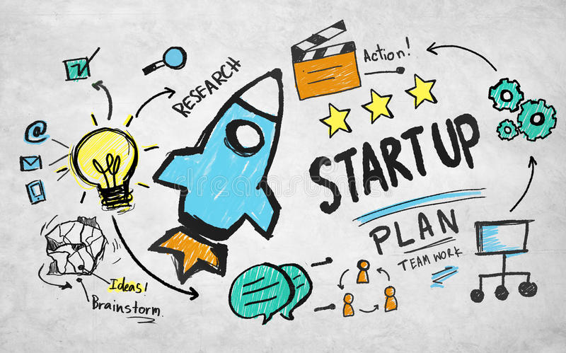 Startup plan action research teamwork brainstorm concept stock image
