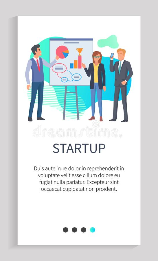 Startup Presentation of New Ideas, Orator Web App. Orator giving ideas of his business project vector. Investors listening to presentation, man showing diagram royalty free illustration