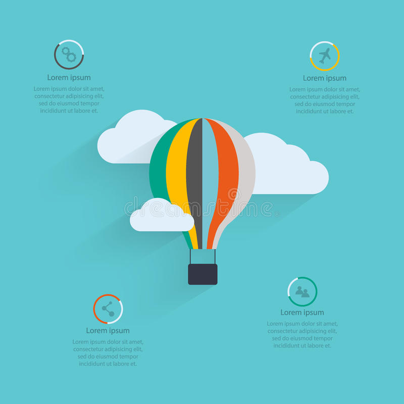 Startup proces. Flat vector design of the startup process, cloud storage, responsive web design, hot air balloon royalty free illustration