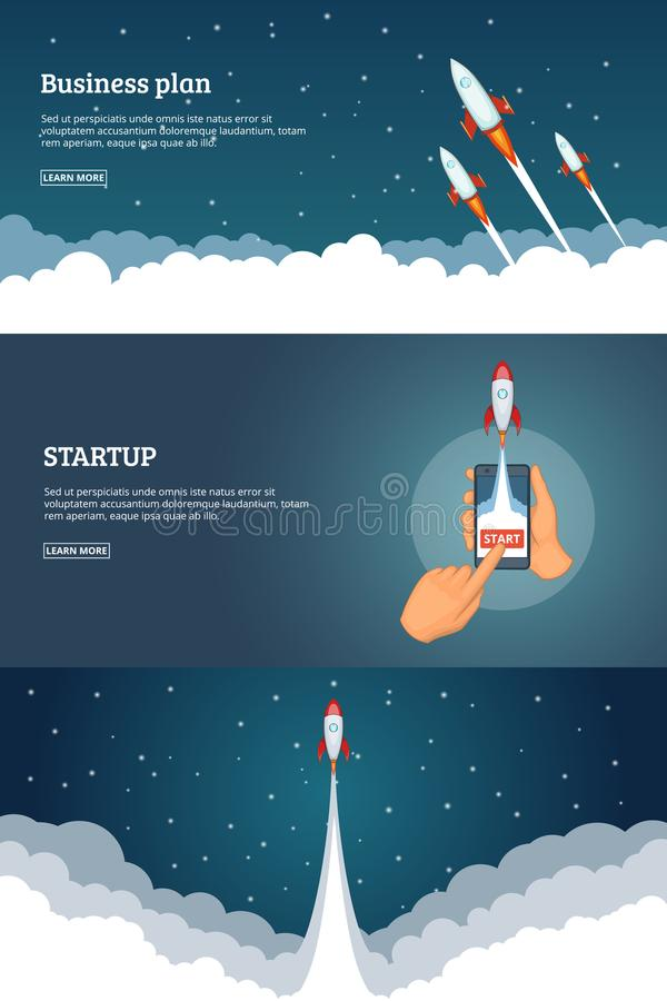 Startup project banner concept set. Business cartoon design vector vector illustration