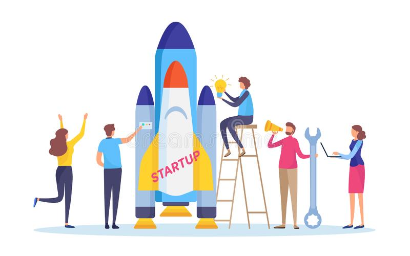 Startup the project. Boost your business concept. Business people`s launch the rocket. Flat cartoon illustration vector royalty free illustration