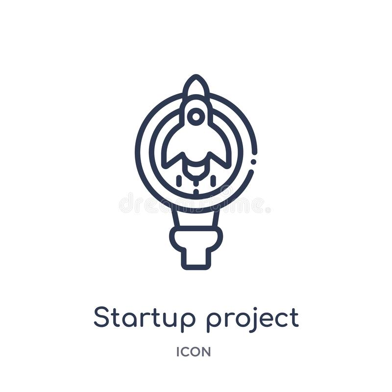 Startup project search icon from startup stategy and success outline collection. Thin line startup project search icon isolated on. White background stock illustration
