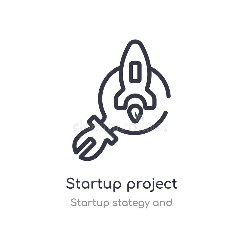 Startup project search outline icon. isolated line vector illustration from startup stategy and collection. editable thin stroke. Startup project search icon on stock illustration