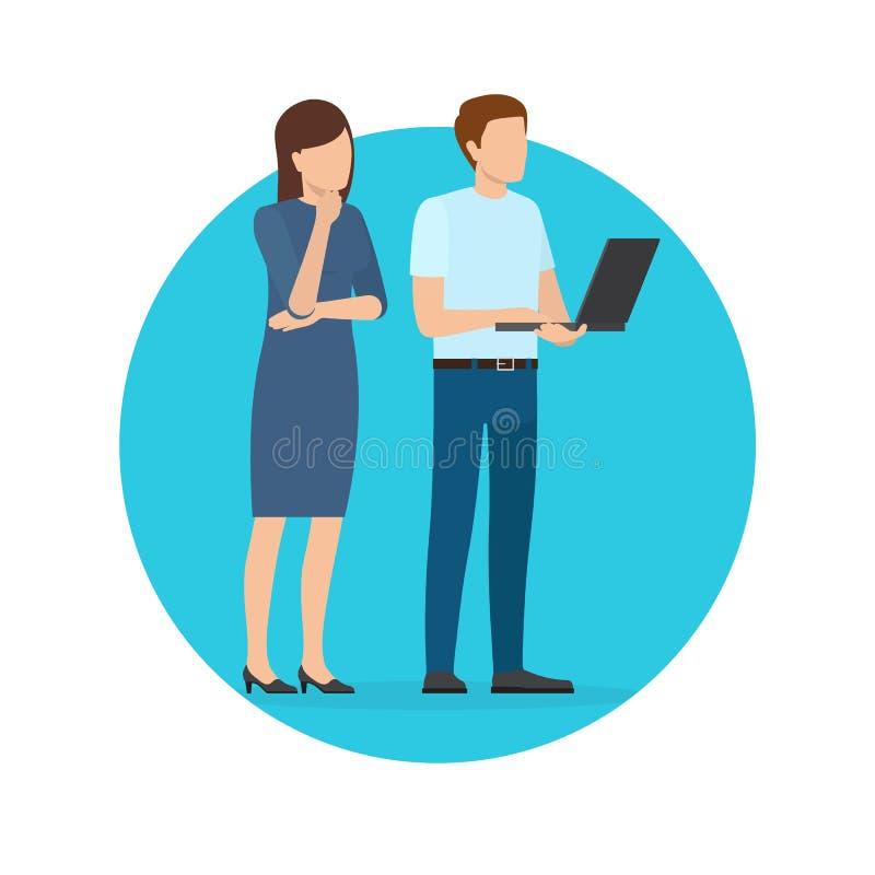 Startup projektaffisch med man- och kvinnaarbetare stock illustrationer
