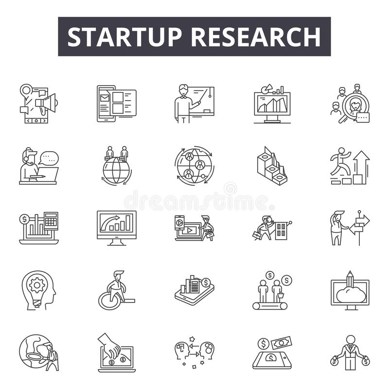 Startup research line icons, signs, vector set, linear concept, outline illustration. Startup research line icons, signs, vector set, outline concept, linear stock illustration