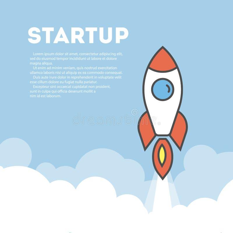 Startup Rocket Concept vektor illustrationer