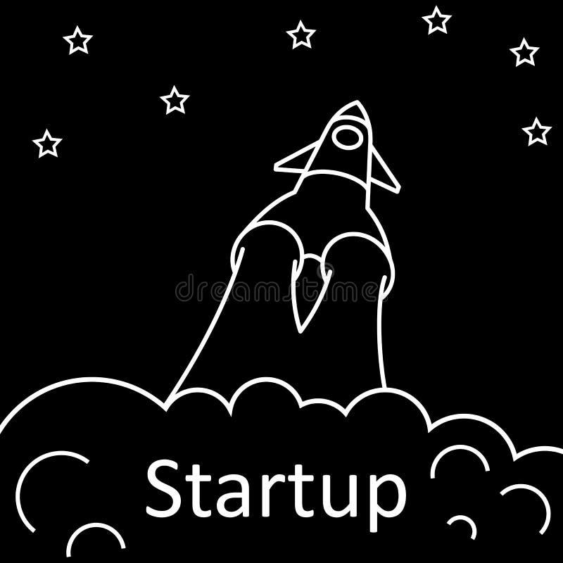 Startup Rocket concept one line - vector vector illustration