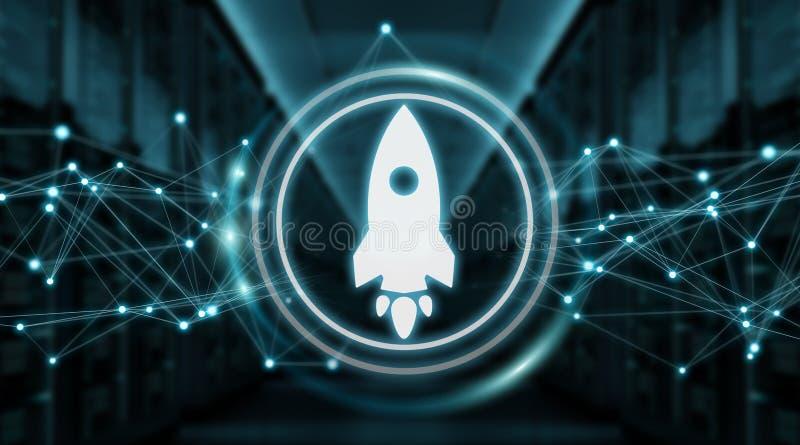 Startup rocket digital interface 3D rendering stock illustration