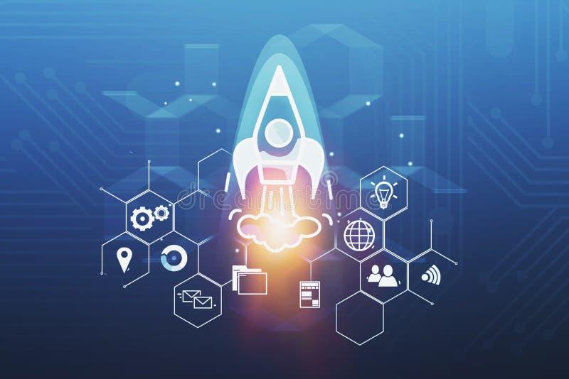 Startup rocket hologram and business icons stock illustration