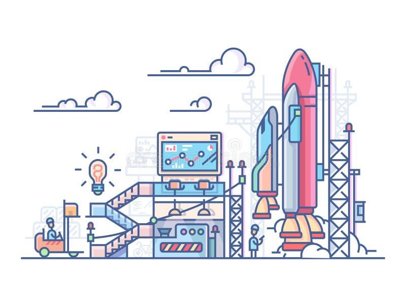 Startup Rocket Launch royaltyfri illustrationer