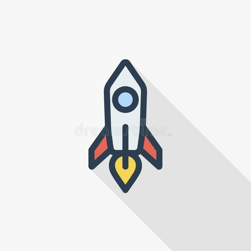 Startup, rocket launch thin line flat color icon. Linear vector symbol. Colorful long shadow design. Startup, rocket launch thin line flat color icon. Linear royalty free illustration