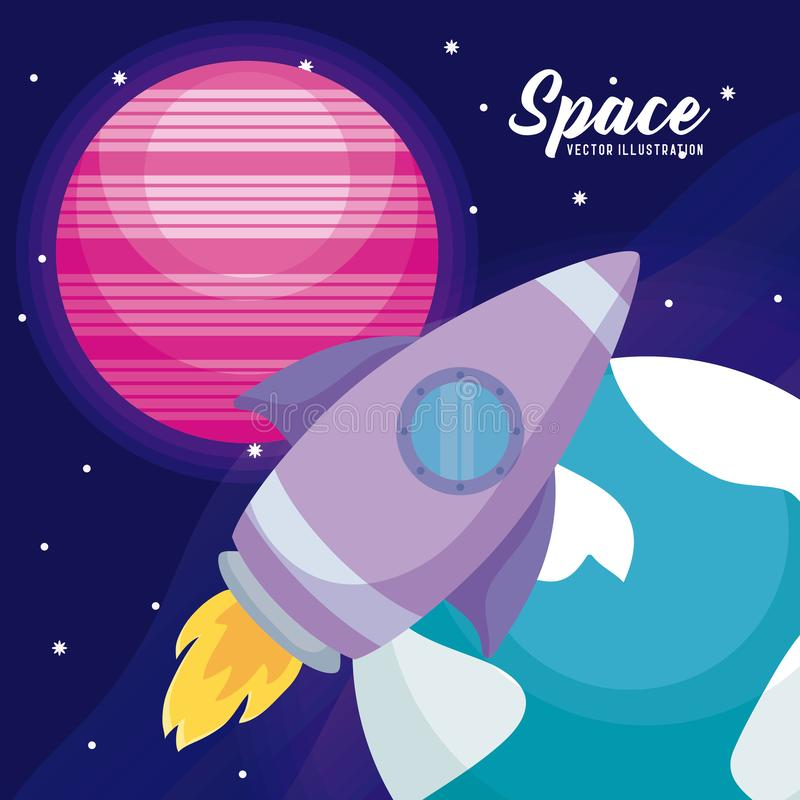 Startup rocket with planets icons vector illustration